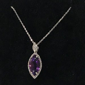 White Gold Amethyst & Diamond pendant & chain