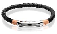 Steel Black Leather Bracelet - rose gold