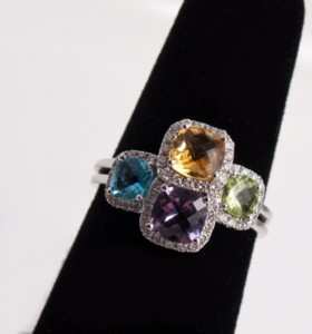 18ct white gold multi-gemstone and diamond cocktail ring