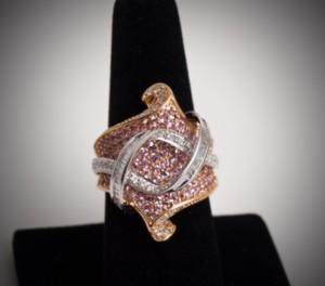 18ct yellow & white gold pink sapphire and diamond ring