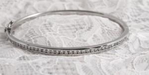 8ct white gold channel set bangle