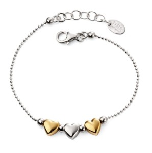 Silver bracelet with a two gold plated hearts
