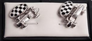Silver race car and flag cufflinks