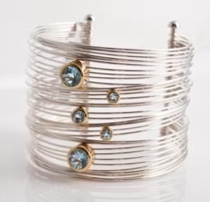 silver and gold plate aqua bangle
